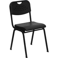 Flash Furniture HERCULES Series Plastic Stack Chair Black - RUT-GK01-BK-GG