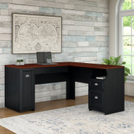 Bush Furniture Fairview L Shaped Desk in Antique Black - WC53930-03K