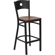 Flash Furniture Circle Back Metal Restaurant Barstool with Cherry Wood Seat - XU-DG-60120-CIR-BAR-CHYW-GG