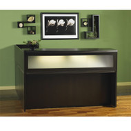 Mayline Aberdeen Reception Desk L-Shaped without Pedestal File Drawers Mocha - ABEPackage1
