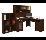 "Bush Cabot Collection L-Shaped Desk 60"" Package Harvest Cherry - CAB004HVC"