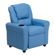 Flash Furniture Kid's Recliner with Cup Holder Light Blue Vinyl - DG-ULT-KID-LTBLUE-GG