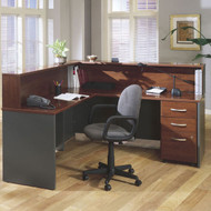 Bush Business Furniture Series C Reception Desk L-Shaped with Mobile Pedestal Hansen Cherry - HCPackageK