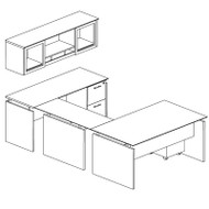 "Mayline Medina Laminate Executive 63"" Desk U-Shaped Package Right Gray Steel - MNT41-LGS"
