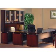 "Mayline Napoli Veneer Series Suite 36 - Executive Workstation 72"" U-Shaped Right Mahogany - NT36"