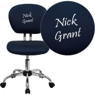 Flash Furniture Mid-Back Navy Blue Mesh Task Chair with Chrome Base and Includes Embroidery-H-2376-F-NAVY-EMB-GG