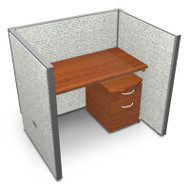 OFM Rize 1 x 1 All Vinyl Privacy Station Unit with Mobile File Pedestal 48 x 24 - T1X1-6348-V