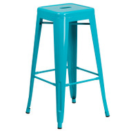 "Flash Furniture Crystal Teal-Blue Metal Indoor-Outdoor Barstool 30""H - ET-BT3503-30-CB-GG"