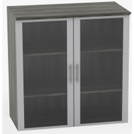 Mayline Medina Laminate Storage Cabinet Glass Hutch Gray Steel - MGDC-LGS