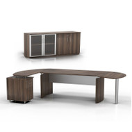 """Mayline Medina Executive 63"""" Desk with Return on Left, Right Curved Desk Extension,  and Low Wall Cabinet, Textured Brown Sugar  - MNT8-TBS"""