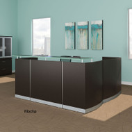 Mayline Medina Reception Station L-Shaped (No Pedestal Files) Mocha - MNRS-RET-LDC