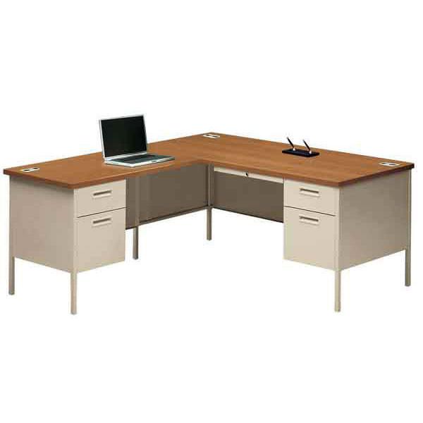 Hon Metro Classic Series 66 L Shaped Metal Desk Workstation With Return On Left P3265r P3236l