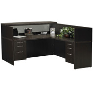 Mayline Aberdeen Reception Desk L-Shaped with two Pedestal File Drawers Mocha - ABEPackage4