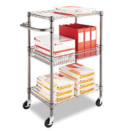 Alera Three-Tier Wire Rolling Cart - SW342416