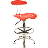 Flash Furniture Vibrant Red and Chrome Drafting Stool / Bar Stool with Tractor Seat - LF-215-RED-GG