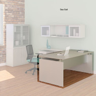 "Mayline Medina Laminate Executive Desk Straight 63"" Textured Sea Salt Finish - MNDS63TSS"