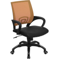 Flash Furniture Mid-Back Orange Mesh Computer Chair with Black Leather Seat - CP-B176A01-ORANGE-GG