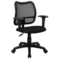 Flash Furniture Mid Back Mesh Task Chair with BlackFabric Seat and Arms - WL-A277-BK-A-GG