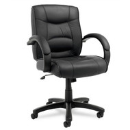 Alera Strada Series Mid-Back Chair Black Leather - SR42LS10B