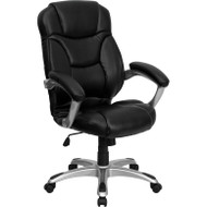 Flash Furniture High Back Black Leather Contemporary Office Chair - GO-725-BK-LEA-GG