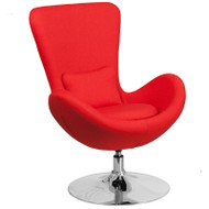 Flash Furniture Egg Series Reception Lounge Side Chair Red Fabric - CH-162430-RED-FAB-GG