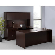 Mayline Aberdeen Executive U-Shaped Desk 72 w/Wood Door Hutch Mocha - AT2