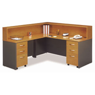 Bush Business Furniture Series C Package Executive L-Shaped Reception Desk Package Natural Cherry - NCPackageJ