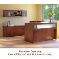 Mayline Aberdeen Reception Desk L-Shaped with one Pedestal File Drawer Cherry Finish - ABEPackage2-LCR