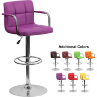 Flash Furniture Contemporary Quilted Vinyl Adjustable Height Barstool with Arms - CH-102029-XX-GG