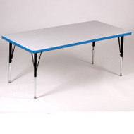 Correll High-Pressure Top Activity Table Rectangle Shape 30 x 72 with Colored T-Mold  - A3072-REC-T