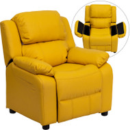 Flash Furniture Kid's Recliner with Storage Yellow Vinyl - BT-7985-KID-YEL-GG