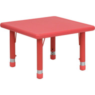 Flash Furniture 24'' Square Height Adjustable Red Plastic Activity Table - YU-YCX-002-2-SQR-TBL-RED-GG