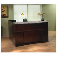 Mayline Sorrento Reception Station Desk with Granite Counter Top Right Hand Return Espresso - SRCSRM