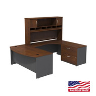 "Bush Business Furniture Series C Executive U-Shaped Bowfront Desk 72"" with Hutch and Storage in Hansen Cherry Right - SRC005HCRSU"