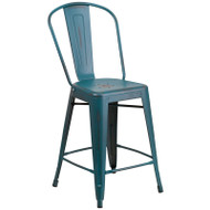 "Flash Furniture Distressed Kelly Blue-Teal Metal Indoor-Outdoor Counter Height Chair 24""H - ET-3534-24-KB-GG"
