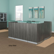 Mayline Medina Reception Station L-Shaped (No Pedestal Files) Gray Steel - MNRS-RET-LGS