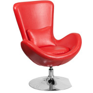 Flash Furniture Egg Series Reception Lounge Side Chair LeatherSoft Red- CH-162430-RED-LEA-GG