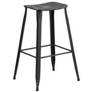 """Flash Furniture Distressed Black Metal Indoor-Outdoor Saddle Barstool 30""""H - ET-3604-30-DISBK-GG"""