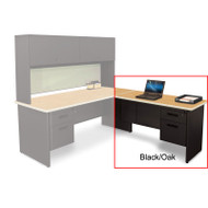 "Marvel Desk Return, Single Pedestal, Non-handed 48"" Black/Oak - PRR4824SP_BKOK"