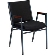 Flash Furniture HERCULES Series Heavy Duty Patterned Stack Chair with Arms Black  - XU-60154-BK-GG