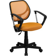 Flash Furniture Mid-Back Orange Mesh Task Chair and Computer Chair with Arms - WA-3074-OR-A-GG