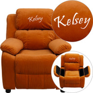 Flash Furniture Kid's Recliner with Storage Dreamweaver Embroiderable Orange Microfiber - BT-7985-KID-MIC-ORG-EMB-GG
