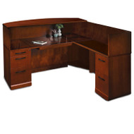 Mayline Sorrento Reception Station Desk with Veneer Counter Right Hand Return Bourbon Cherry - SRCSR-SCR