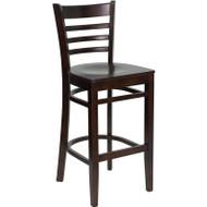 Flash Furniture Wood Ladder Back Barstool with Walnut Finish and Walnut Wood Seat - XU-DGW0005BARLAD-WAL-GG