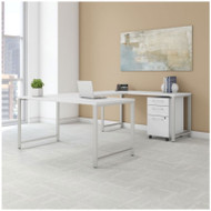 Bush Business Furniture 400 Series 60x30 U-Shaped Table Desk with 3-Drawer Mobile Pedestal, White - 400S161WH