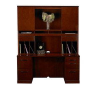 Mayline Sorrento Double Pedestal Credenza and Hutch Package Bourbon Cherry - ST24-SCR