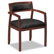 Basyx Leather Wood Reception or Guest Chair Mahogany - VL852NST11