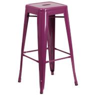 """Flash Furniture Purple Metal Indoor-Outdoor Barstool 30""""H - ET-BT3503-30-PUR-GG"""