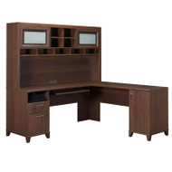 Bush Achieve L-Shaped Computer Desk with Hutch Sweet Cherry Finish - ACH001SC