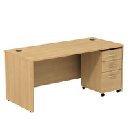 "Bush Business Furniture Series C Package Desk with Mobile File Cabinet in Light Oak 66""W x 30""D - SRC015LOSU"